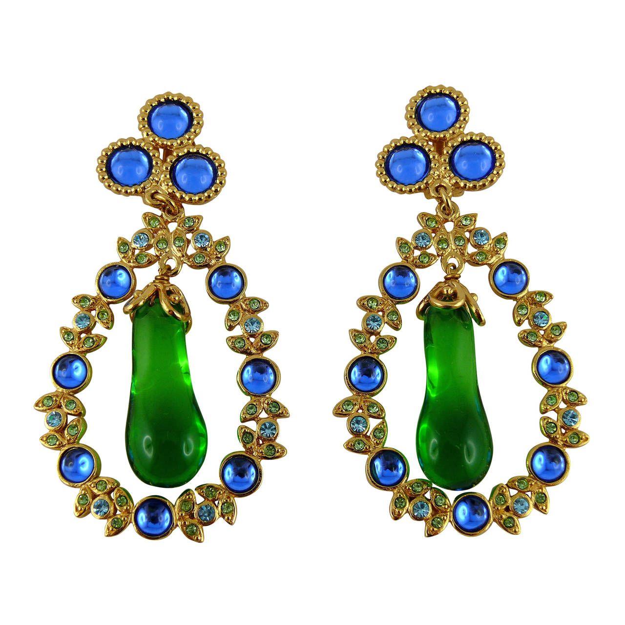 99c2b5e5948 Yves Saint Laurent YSL Vintage Crystal & Poured Glass Dangling ...