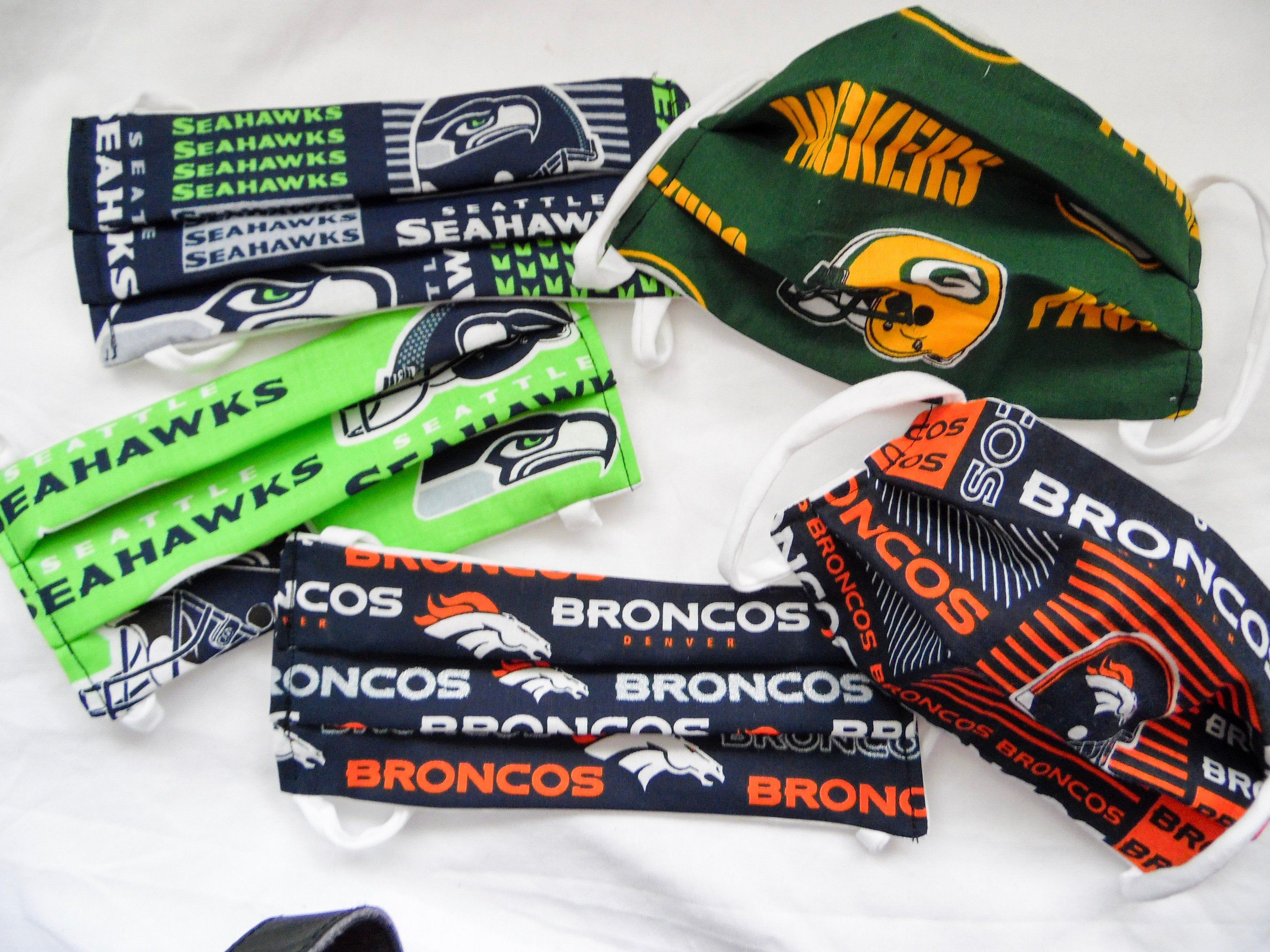Washable Face Mask Made From Nfl Team Print Seahawks Broncos Greenbay Packers Byu Free Us Shipping In 2020 Broncos Face Mask Packers Cowboys