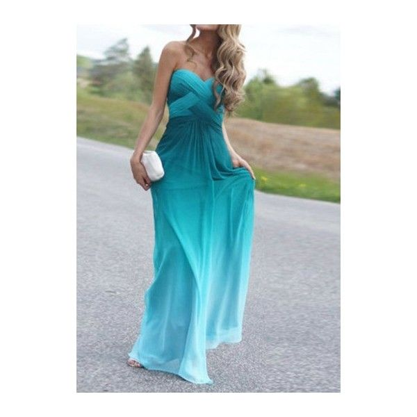 High Waist Strapless Omber Blue Maxi Dress ($28) ❤ liked on Polyvore featuring dresses, blue, strapless dress, blue print dress, strapless maxi dress, blue dress and sleeveless maxi dress