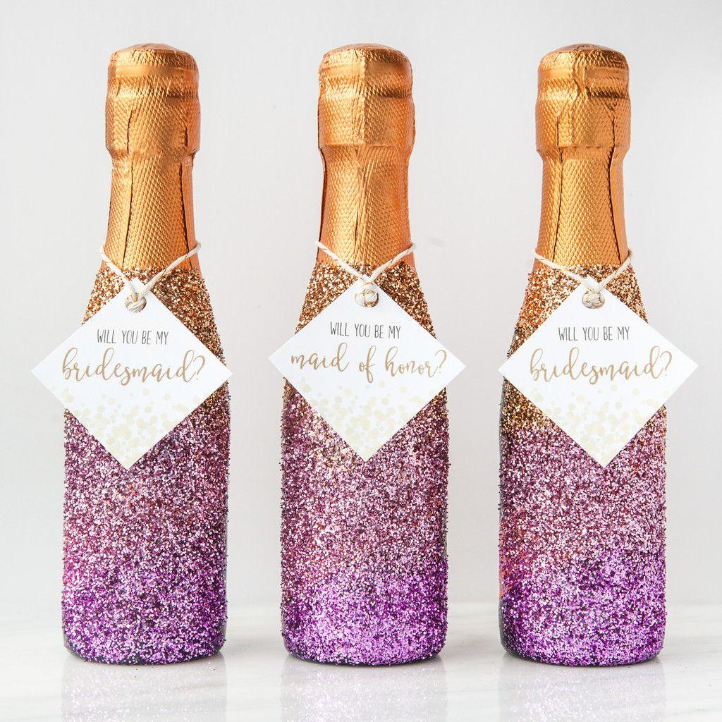 Foxblossom Co. Glitter Champagne Bridesmaid Proposal | For Your ...