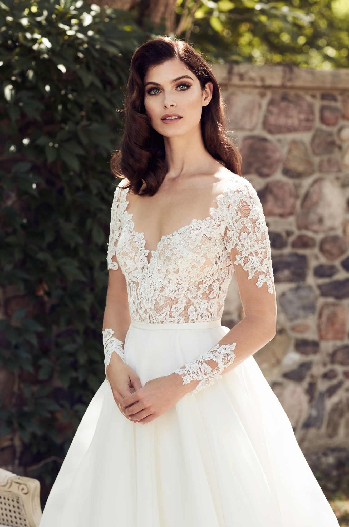 Palomablancawed style nude tulle bodice with long sleeves