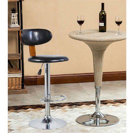 Merax Luxurious Leather Swivel Height Adjustable Bar Stool Cafe Dining Room  Chair, Black