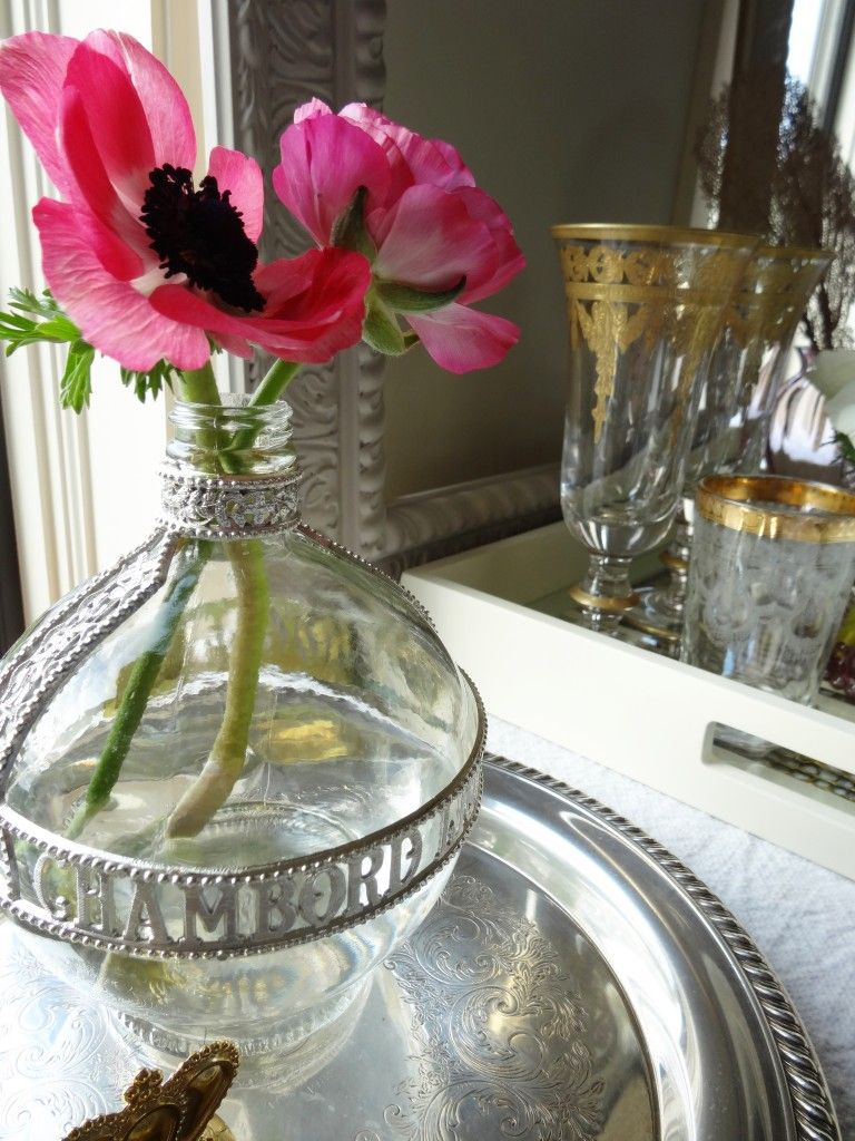 Recycled Chambord bottle as a vase!