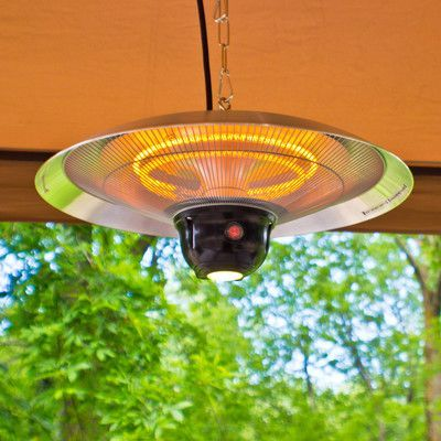 Features:  -Product: Hanging infared electric patio heater with remote control.  -LED light for ambient lighting.  -Safe and environmentally respectful with no carbon monoxide emissions.  -Three heati