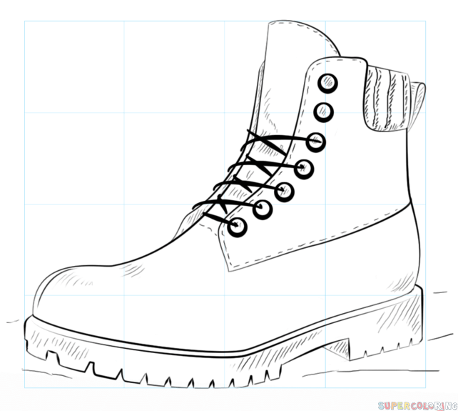 Fashion Design Drawing How To Draw A Hiking Boot Step By Step Drawing Tutorials For Kids And Beginners Shoes Drawing Draw Boots Fashion Design Drawing