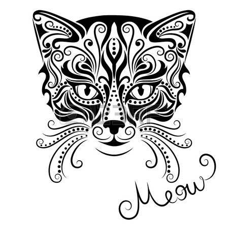 Dibujo Blanco Y Negro Ilustración Vectorial De La Cabeza Del Gato