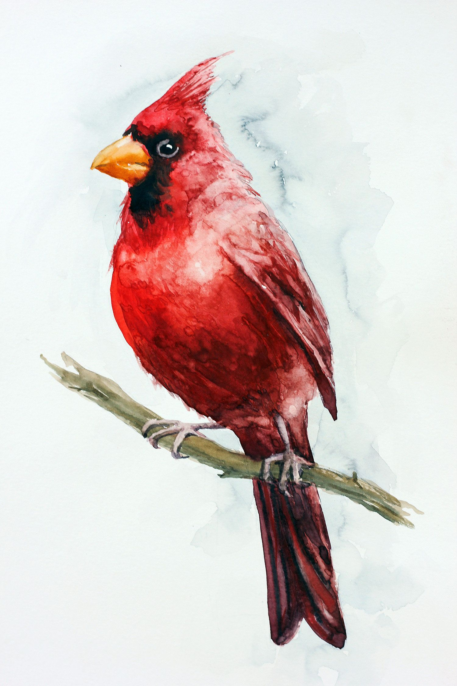 Red Cardinal Painting Original Watercolor Bird Aquarelle Decor