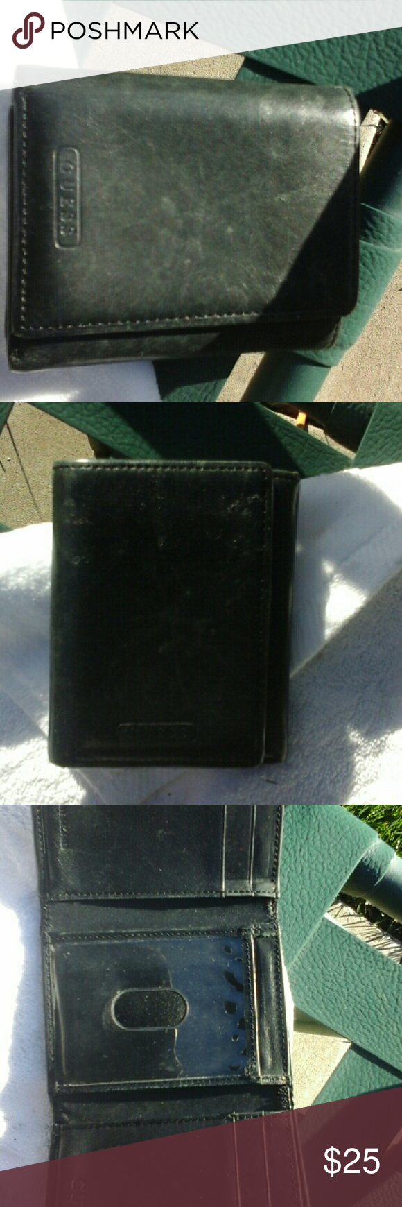 Men's Authentic Leather Bi-Fold Wallet Pre-loved!! Black. Genuine Leather. Guess Bags Wallets