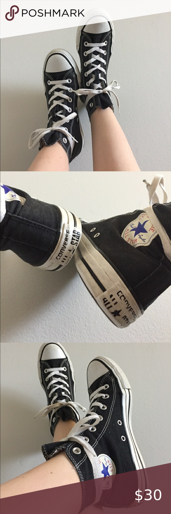 Black Converse High Tops | Size 8 in