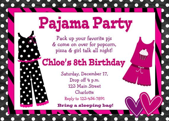 Assez Pajama party birthday invitation slumber party sleepover  IX25