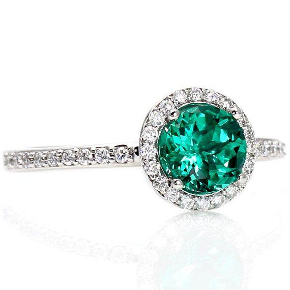 14k emerald engagement ring diamond halo emerald ring may birthstone custom bridal jewelry via etsy - Emerald Wedding Rings