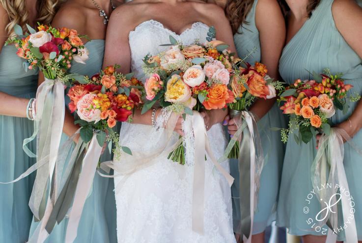 Sage Ish Blue Bridesmaid Dresses Orange Rust And Peach Flowers