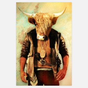 Gangsta Yak 12x18 ... by John Keddie .... photograph now featured on Fab for 20 dollars. We all anthropomorphize animals—from our pets to the more exotic wildlife at the zoo. Now artist John Keddie has gone a step further with these quirky and enigmatic prints by putting wildlife in human form so you can't tell where the person begins and the animal ends. Consider them instant conversation pieces.