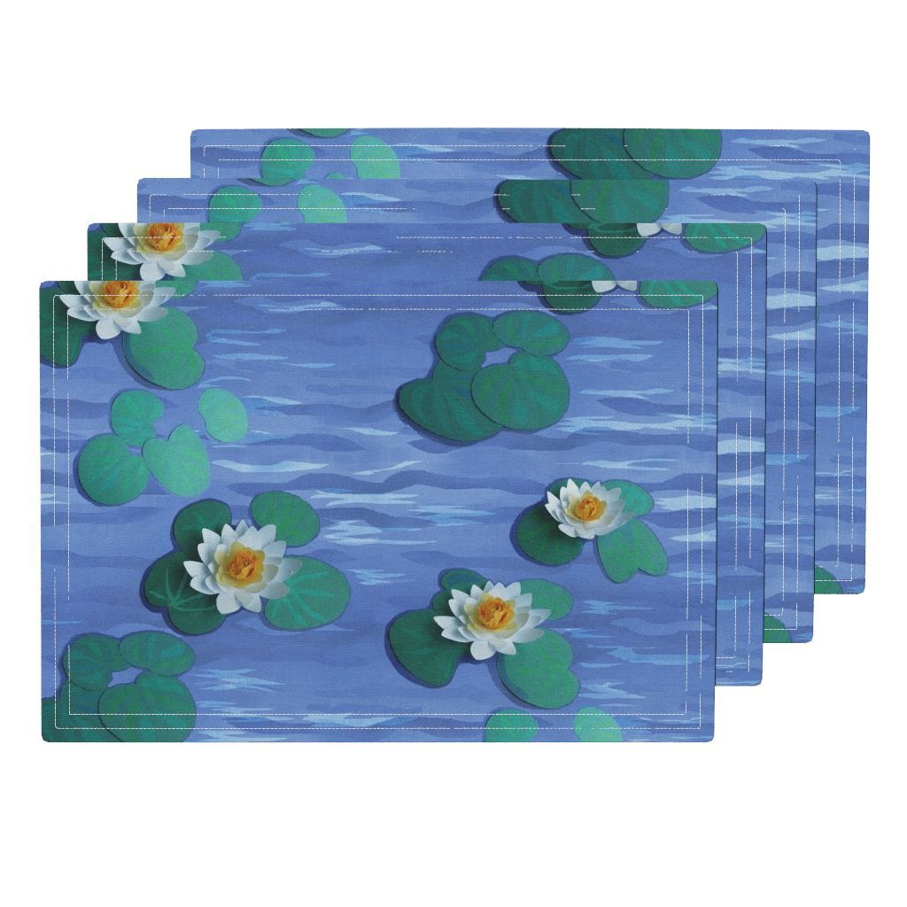 Lamona Cloth Placemats Featuring Paper Water Lilies On A Paper Lake By Khowardquilts Roostery Home Decor Water Lilies Lily Kids Rugs