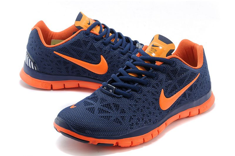 Nike Free Run Womens Deep Blue Orange Running Shoes