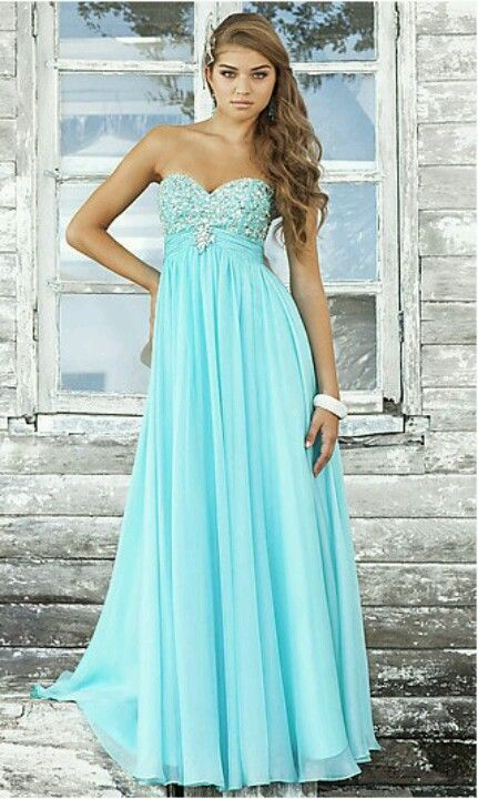 Ice blue long prom dress. ♡ Too bad I won\'t have a prom. Hm. | Prom ...