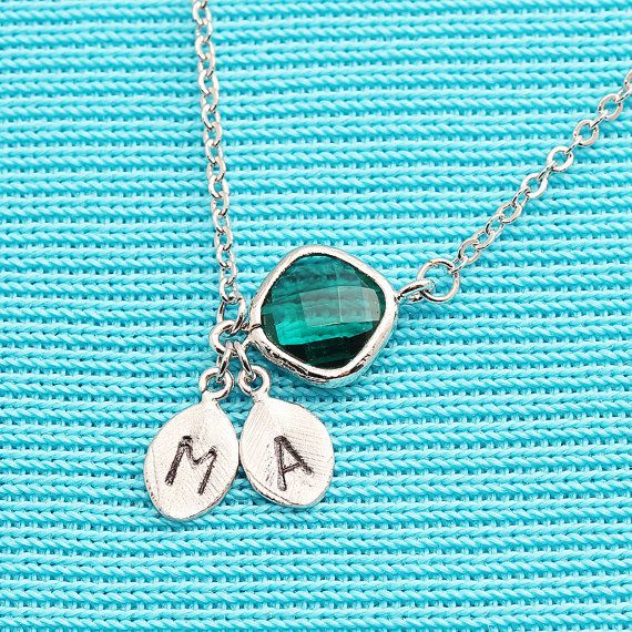 Rhodium Plated, Simple Two Personalized Stamped Initials on Leaf Charm, Diamoind Shaped Green Glass Connector Droplet,  Necklace on Etsy, £10.50