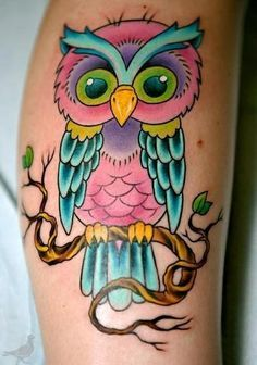 Colorful Owl Tattoo Idea Vibrant Bright Colored Ink Cute Owl Tattoo Owl Tattoo Baby Owl Tattoos