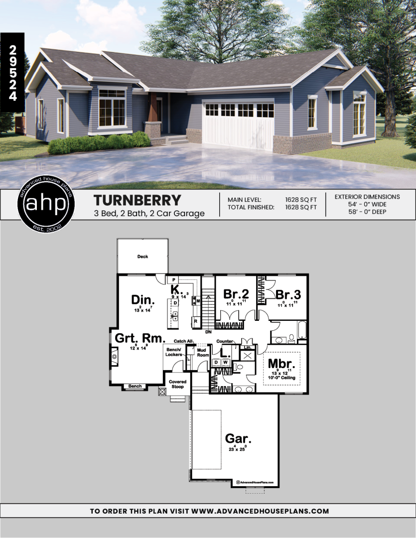 1 Story Traditional House Plan Turnberry Ranch House Floor