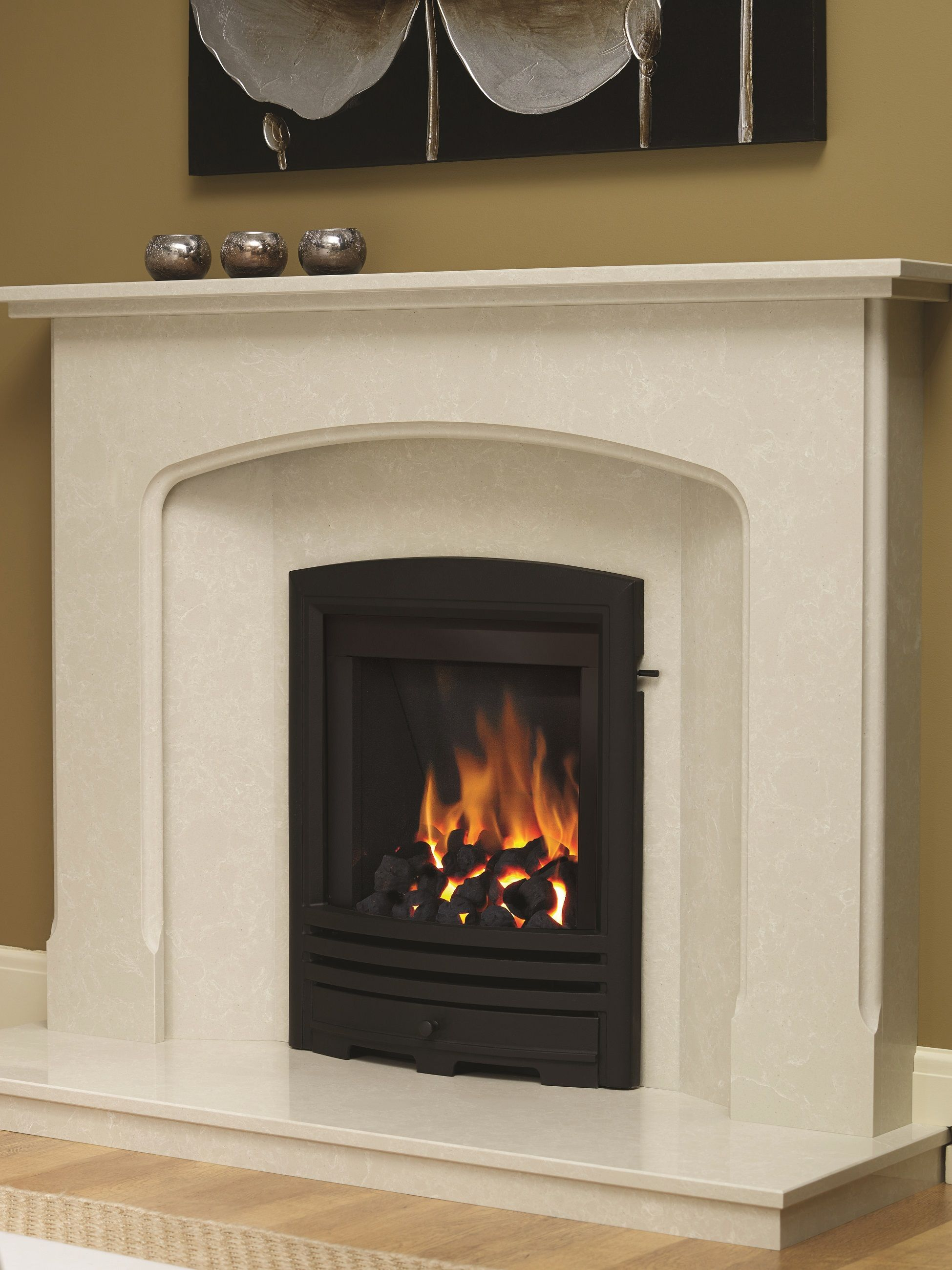 Be modern alcazar cast trim inset gas fire is a contemporary style
