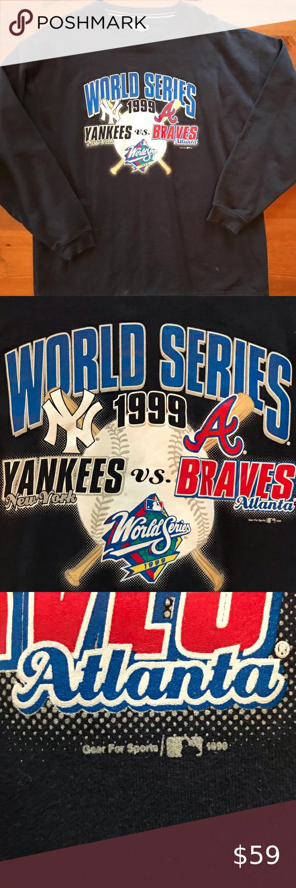 1999 World Series Sweatshirt Yankees Vs Braves In 2020 Sports Shirts Vintage Sweatshirt Sweatshirt Shirt