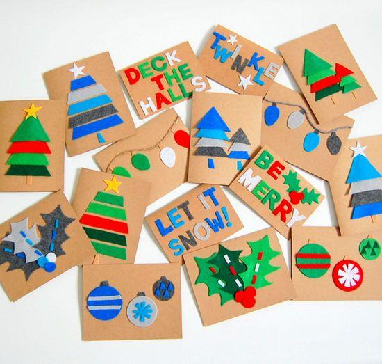 Tarjetas de navidad adornadas con fielro adornar - Postal navidena infantil ...
