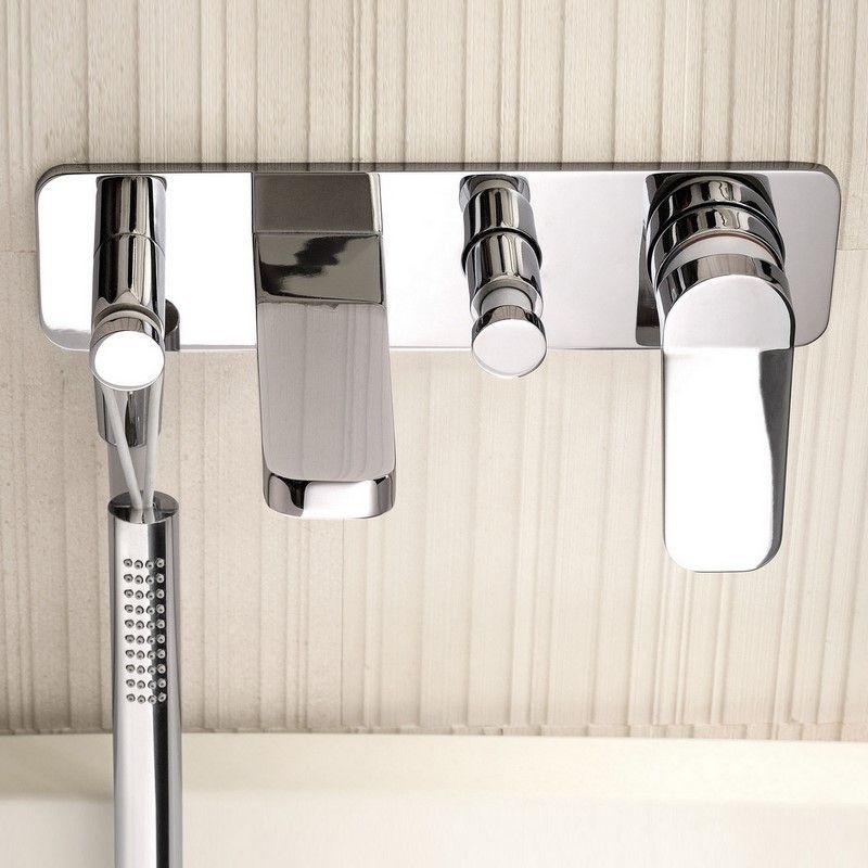 Unterputz Badewannenmischer Levante | mit Handbrause Levante| Design: Rodolfo Dordoni | zwei Oberflächen wählbar