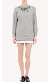 Sacai Luck Jewel-Embellished Sweater Dress