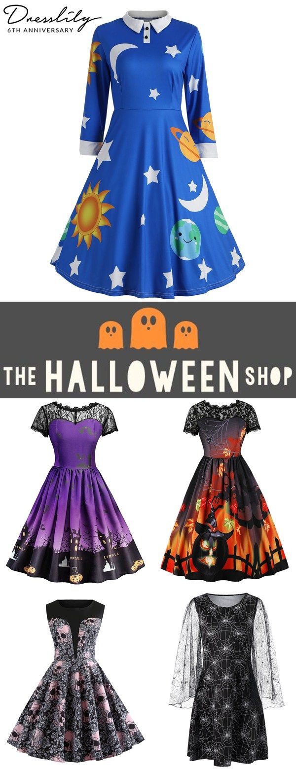 c5abf73621a Buy 1 get 15% off.Halloween Printed Vintage Dresses.  dresslily  halloween   vintagedress