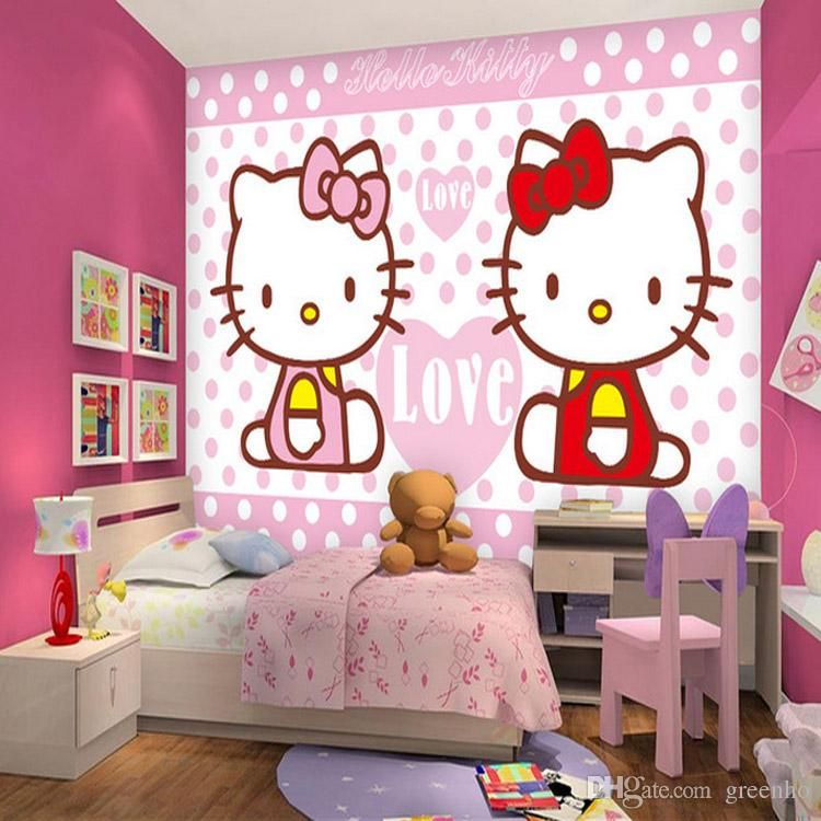 Lovely Kitty Cat Photo Wallpaper Japanese Anime Wallpaper Girls Room Cartoon Wall Murals Room Decor Wall