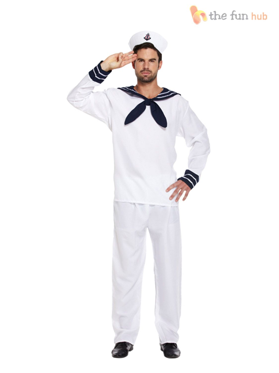 Mens Sailor T-Shirt Top for Captain Seaman Fancy Dress Cosplay Outfit