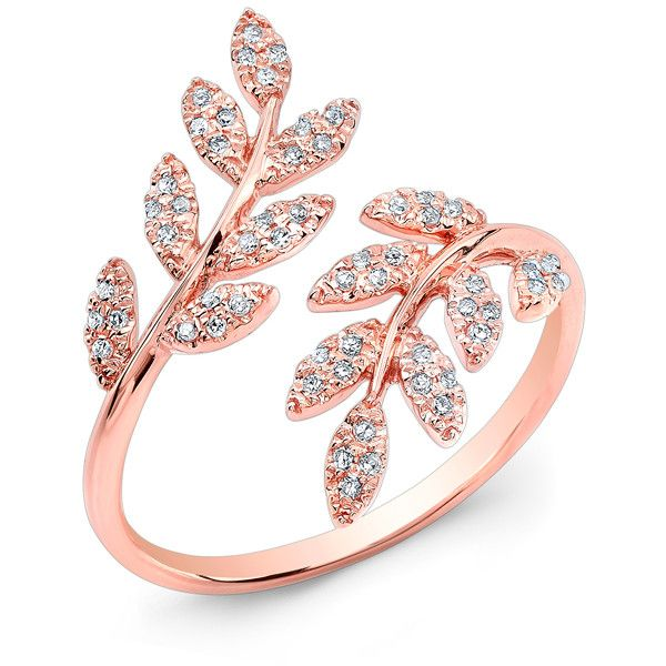 14KT Rose Gold Diamond Branch Ring Wide Diamond Ring Ring measures