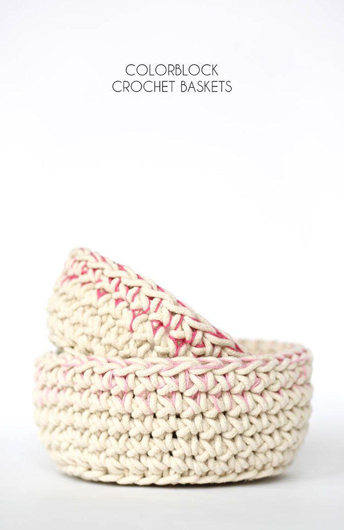 Color Block Crochet Baskets - Free Pattern | Cestas, Tejidos de ...
