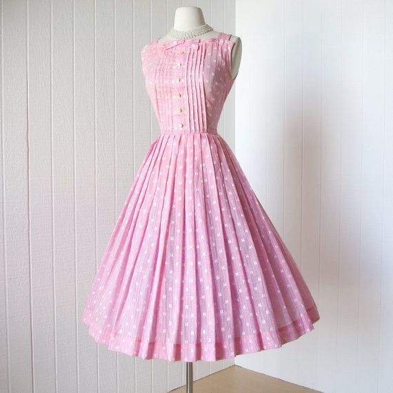 Cute! \\ vintage 1950's dress sweet pink voile EMBROIDERED by traven7, $140.00