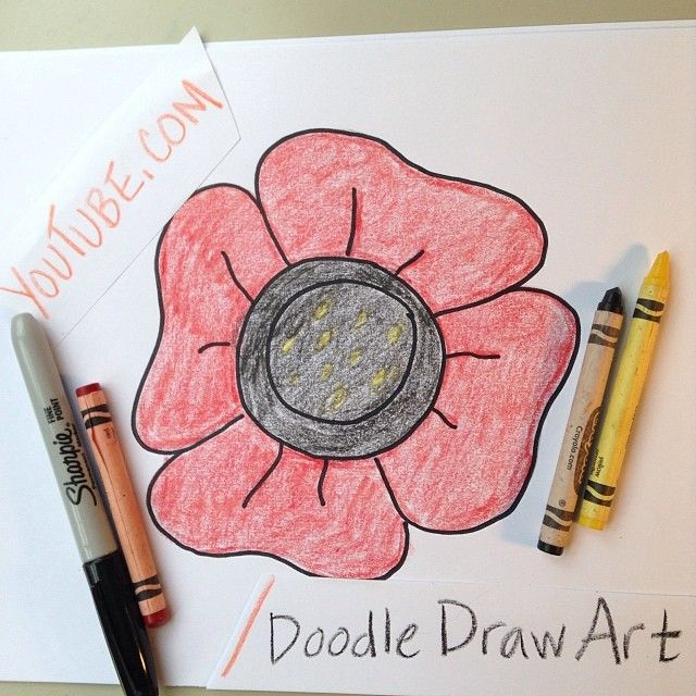 Learn how to draw this easy poppy for kids in this easy for Poppy drawing step by step