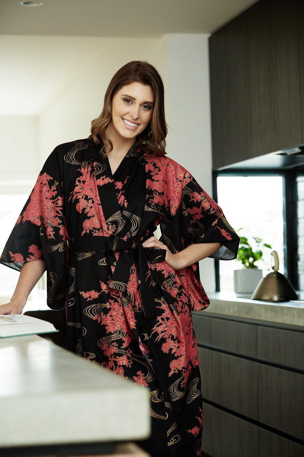 Flowing Womens Plus Size Cotton Kimono Robe Womens Kimonos