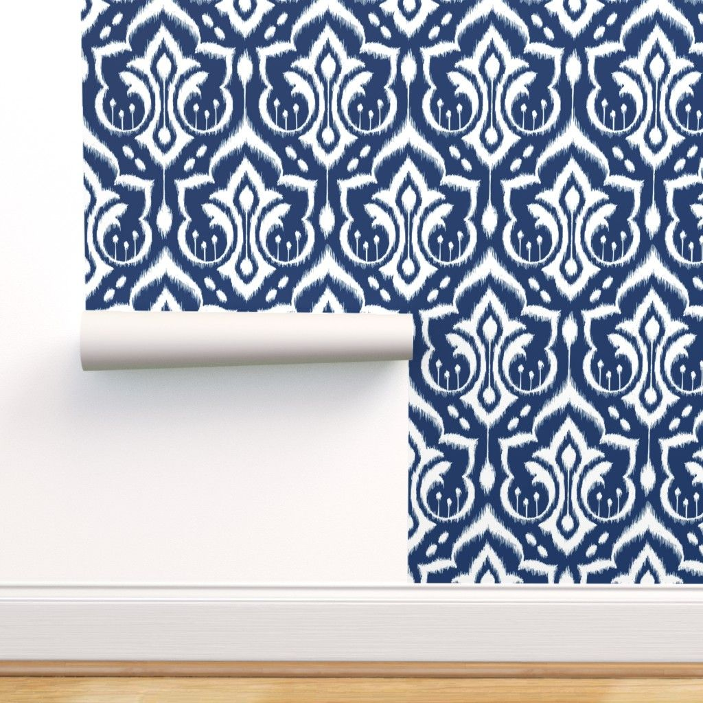 Ikat Damask Midnight Navy On Isobar By Pattysloniger Roostery Home Decor Damask Wallpaper Wallpaper Roll Damask