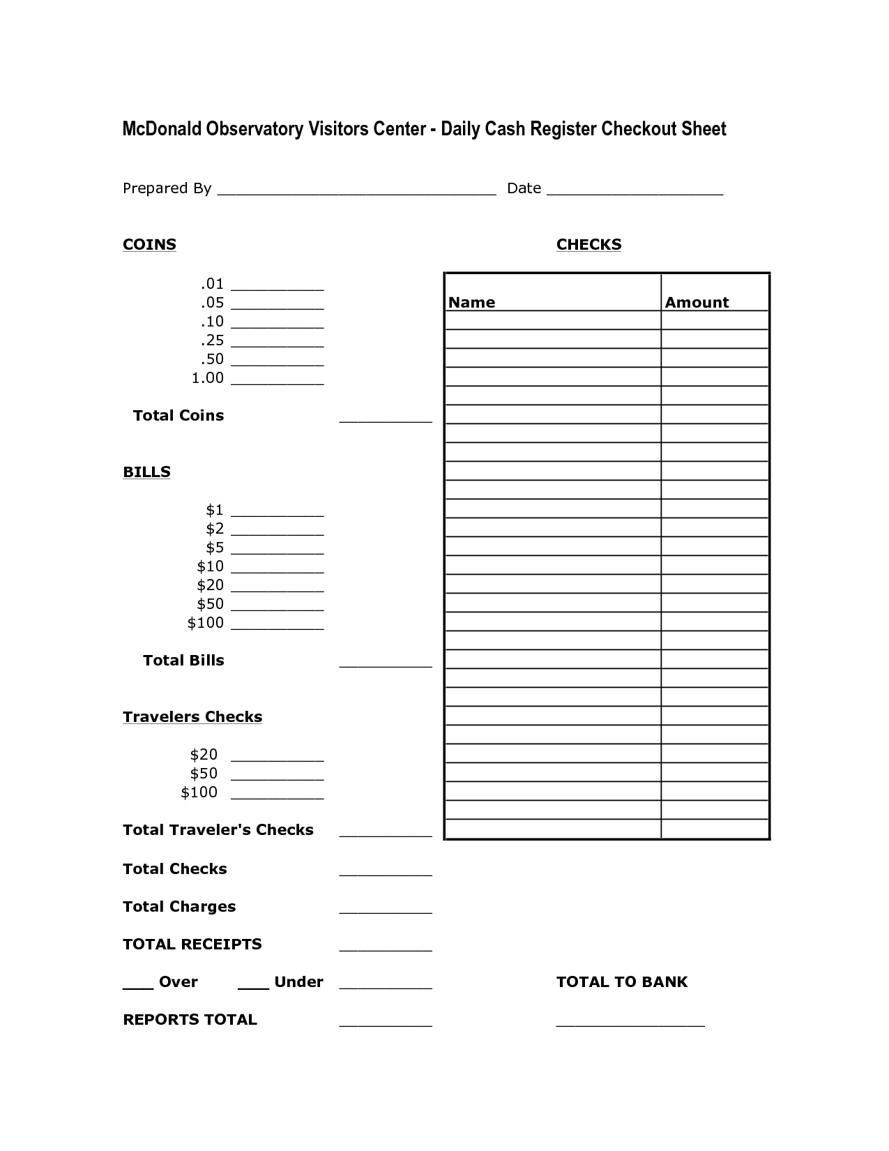 Daily Cash Register Balance Sheet Template With Images