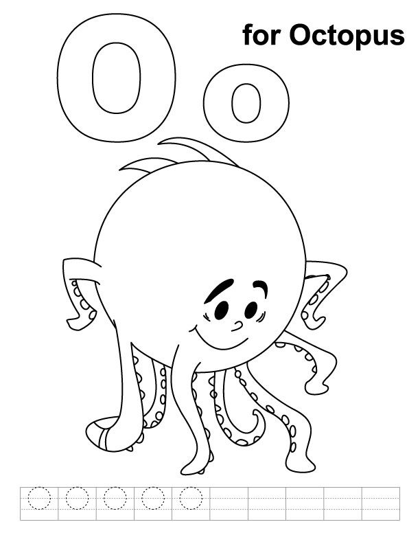 O For Octopus Coloring Page With Handwriting Practice Download