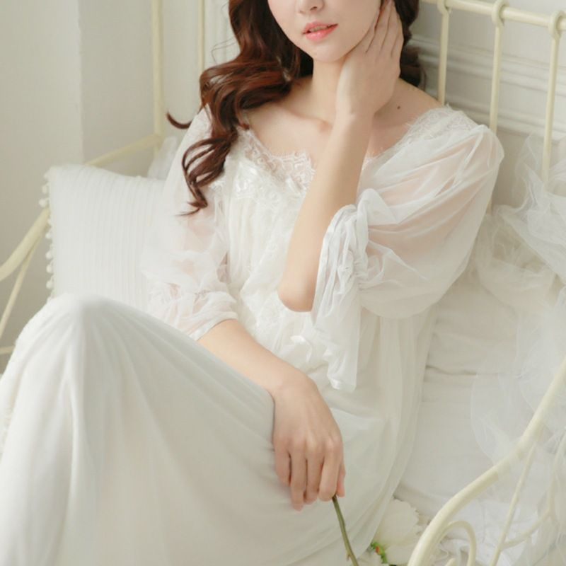 ... lowest price d3b89 f0d64 Free Shipping Buy Best 100% Cotton Nightgown  Princess Nightdress Royal ... 62b004a11