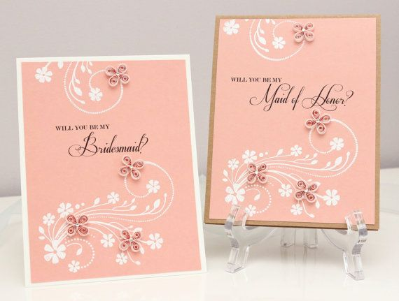 Quilled Flowers Will You Be My Bridesmaid Maid of Honor Invitation Cards