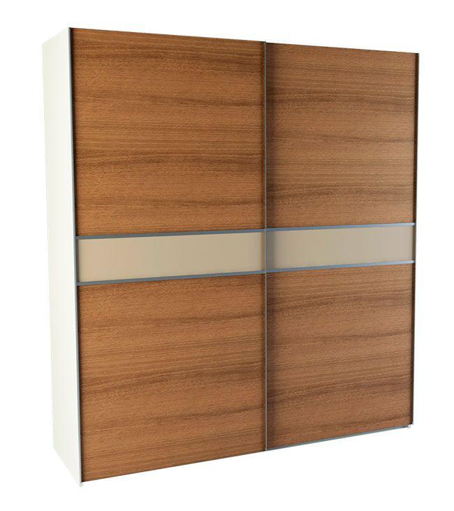 Armario en kit color nogal y lino textil con estructura armarios madera diy decoracion casa - Kit puertas correderas armarios ...