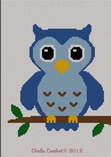 Easy Cute Blue Baby Owl Crochet Knit Cross Stitch Afghan Pattern