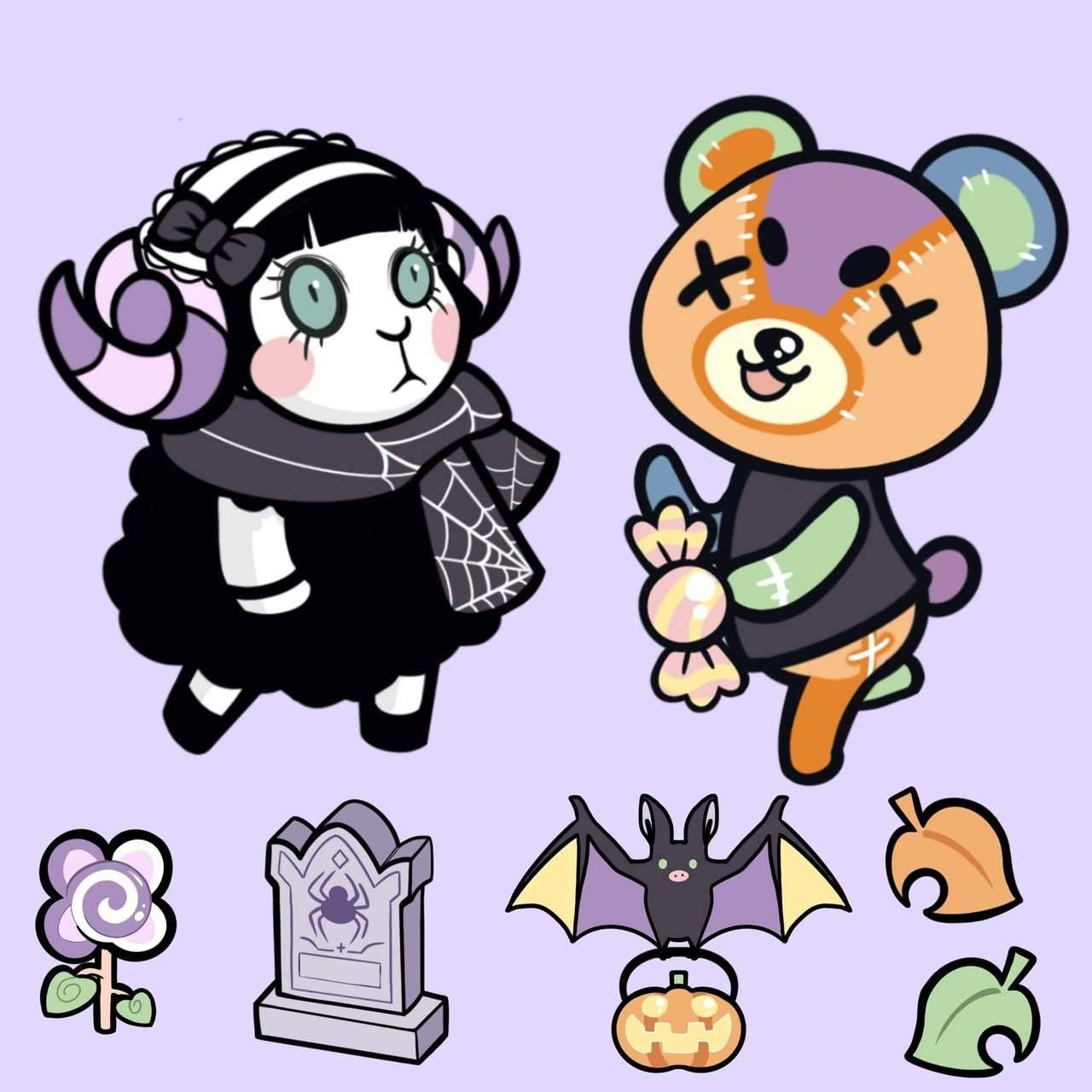 Animal Crossing Halloween Stickers made by Silksutures -