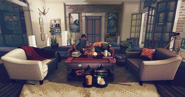 Second Life Interior Design Scene Featuring Trompe Loeil With