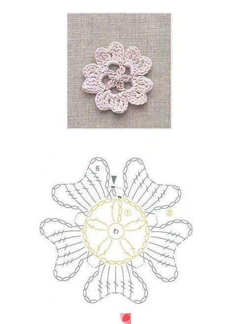 Crochet Flower - Chart ❥ 4U // hf by bonita | Crochet Flowers _ ...