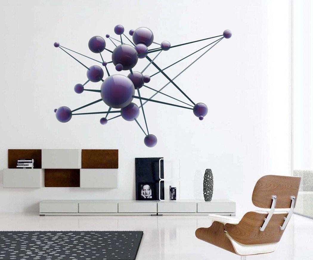 Science Art Molecule Physics Atom Models Wall Art Decal Decal Wall Art Wall Vinyl Decor Science Art