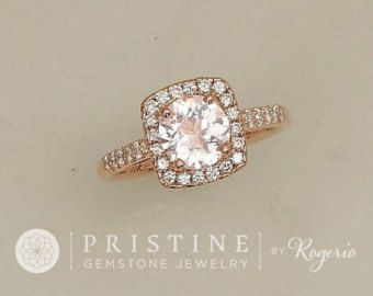 Rose Gold Engagement Ring with Red Spinel Ruby by PristineJewelry