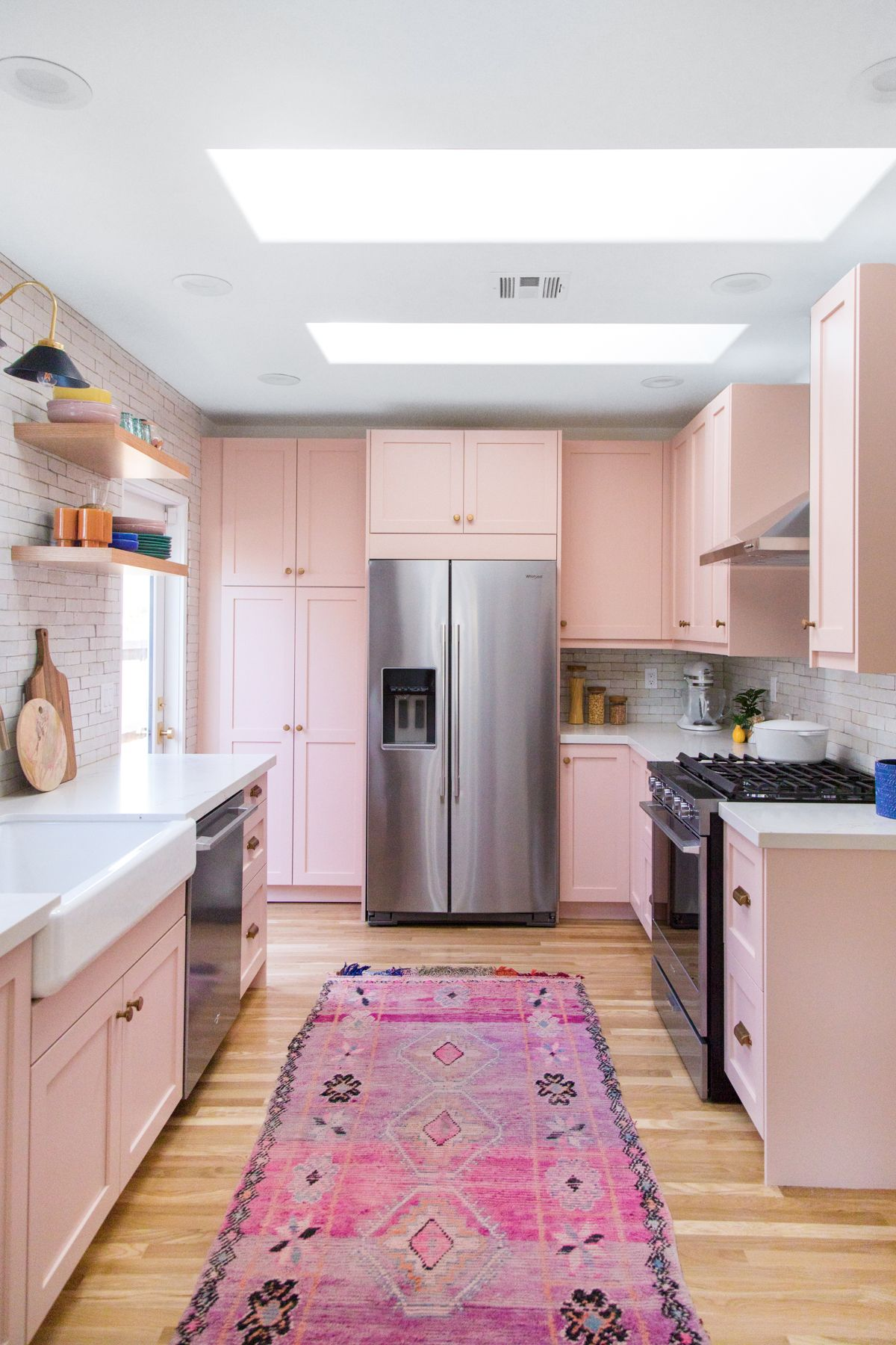 The Mindwelling Our Kitchen Reveal Studio Diy Eclectic Kitchen Pink Kitchen Cabinets Pink Kitchen Cupboards