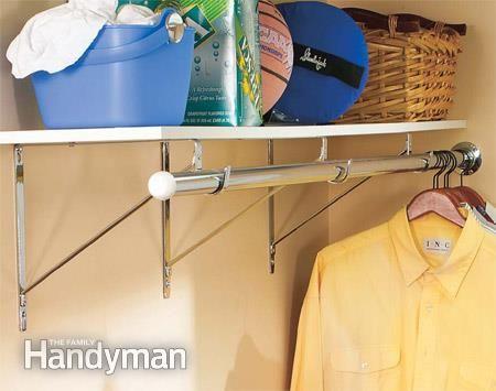 How To Organize A Laundry Room. I Like The Closet Rod/shelf And The  Fold Away Folding Table.